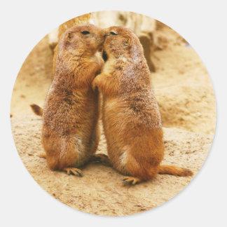 Kissing Black Tailed Prairie Dogs Round Sticker
