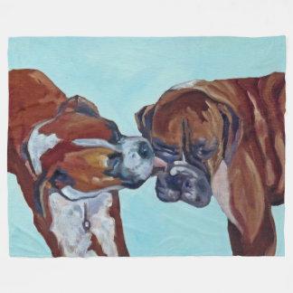 Kissing Boxer Dogs Art Fleece Blanket