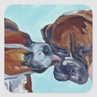 Kissing Boxer Dogs Art Portrait Square Sticker