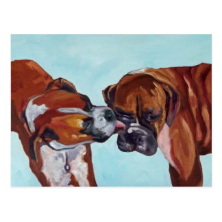 Kissing Boxer Dogs Postcard