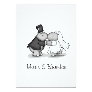 """Kissing Bride & Groom Hippos Personalize 4.5"""" X 6.25"""" Invitation Card"""
