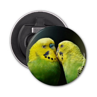 Kissing Budgie Parrot Bird Button Bottle Opener