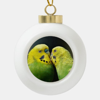 Kissing Budgie Parrot Bird Ceramic Ball Christmas Ornament
