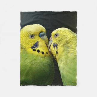 Kissing Budgie Parrot Bird Fleece Blanket