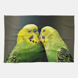 Kissing Budgie Parrot Bird Hand Towel