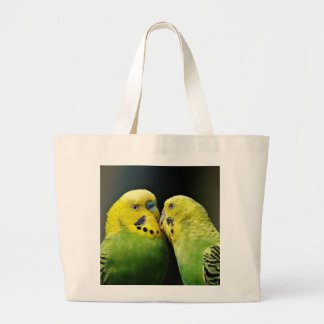 Kissing Budgie Parrot Bird Large Tote Bag