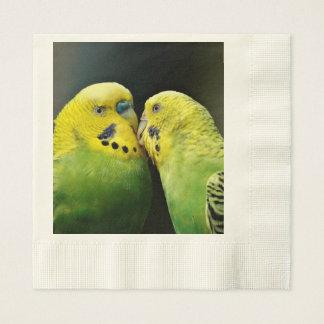 Kissing Budgie Parrot Bird Paper Napkin