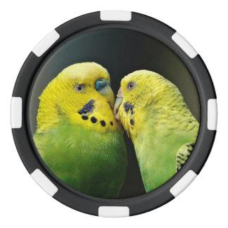 Kissing Budgie Parrot Bird Poker Chip Set