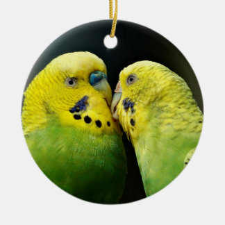 Kissing Budgie Parrot Bird Round Ceramic Ornament