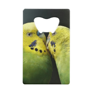 Kissing Budgie Parrot Bird Wallet Bottle Opener