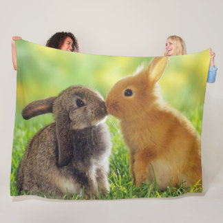 KISSING BUNNIES FLEECE BLANKET