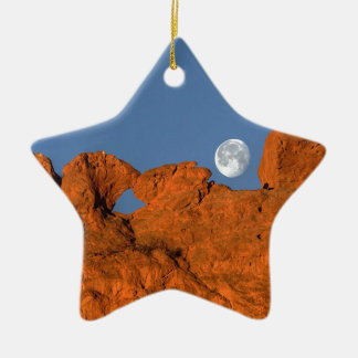 Kissing Camels Rock Formation with Full Moon Ceramic Ornament