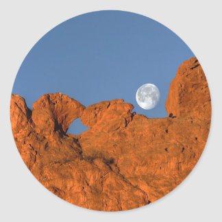 Kissing Camels Rock Formation with Full Moon Round Sticker