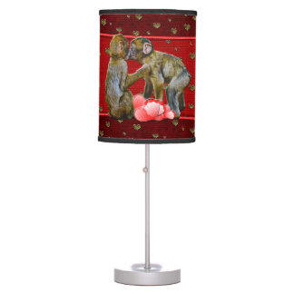 Kissing Chimpanzees Floating Hearts Desk Lamps