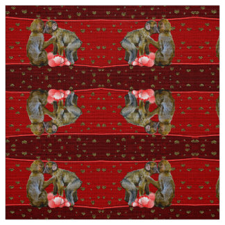 Kissing Chimpanzees Floating Hearts Fabric