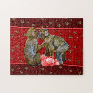Kissing Chimpanzees Floating Hearts Jigsaw Puzzle