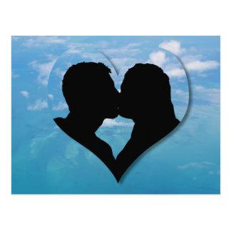 Kissing Couple Silhouette - Blue Skies Postcard