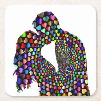 KISSING COUPLE SQUARE PAPER COASTER