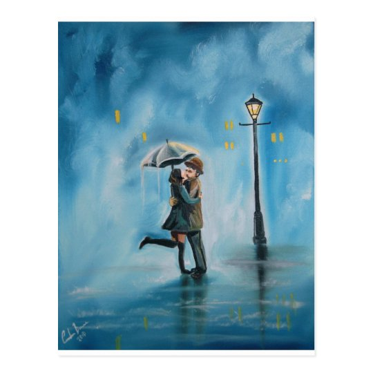 KISSING COUPLE UMBRELLA POSTCARD