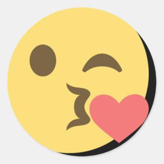 Kissing Emoji Classic Round Sticker