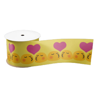 Kissing emoji satin ribbon