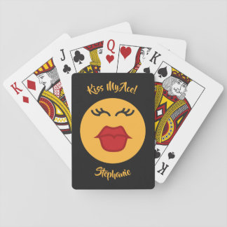 Kissing Emoticon custom text playing cards