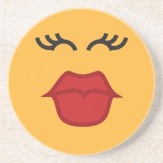 Kissing Emoticon sandstone coaster