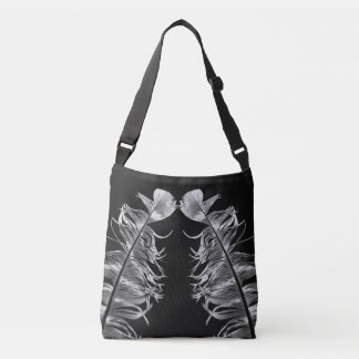 Kissing Feathers Black & White Photography Crossbody Bag