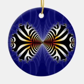 Kissing Fish Fractal Zebra Fish Ceramic Ornament