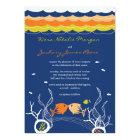 Kissing Fishes Corals Beach Whimsical Cute Wedding Card