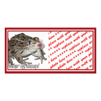Kissing Frog - Pucker Up, Honey! Customized Photo Card