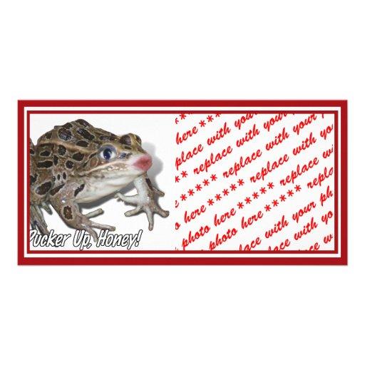 Kissing Frog - Pucker Up, Honey! Custom Photo Card