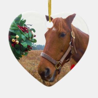 Kissing Horse under Mistletoe Ceramic Heart Ornament