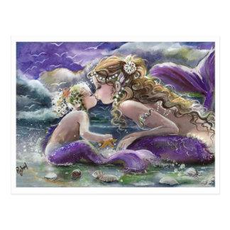Kissing Mom and Baby Mermaids in Purple Postcard