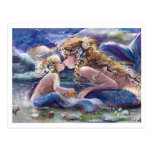 Kissing Mom and Child mermaids in Blue Postcard