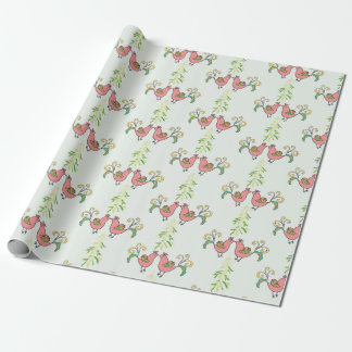 Kissing Partridges with Mistletoe Wrapping Paper