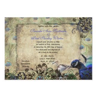 Kissing Peacock Vintage Wedding Invitation