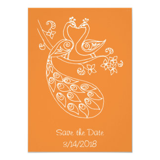 Kissing Peafowls Save-The-Date, alpana style Card