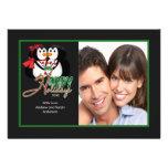 Kissing Penguin Happy Holidays Flat Photo Card Custom Invites