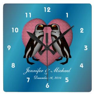 Kissing Penguins Pink Heart Wedding Square Wall Clock