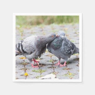 Kissing pigeons disposable napkin
