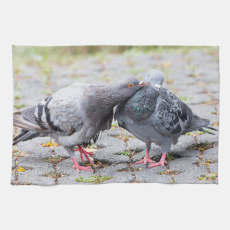 Kissing pigeons kitchen towel