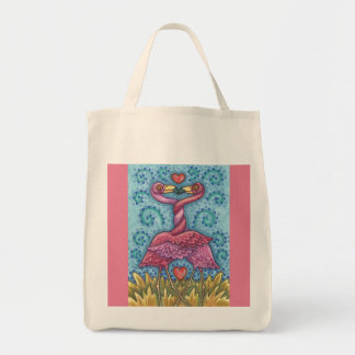 Kissing PINK FLAMINGO GROCERY TOTE BAG *Customize