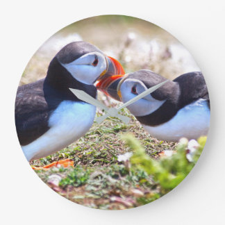 Kissing Puffins Clock