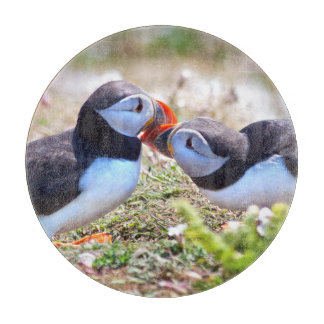 Kissing Puffins Glass Cutting Board