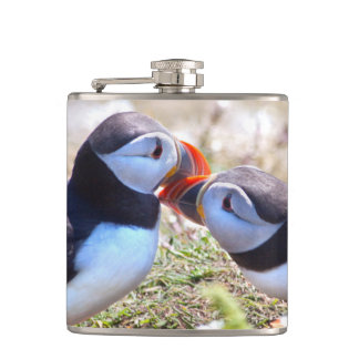 Kissing Puffins Hip Flask