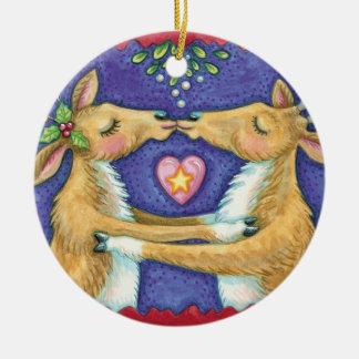 Kissing Reindeer Christmas Ornament