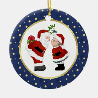 Kissing Santa Ceramic Ornament
