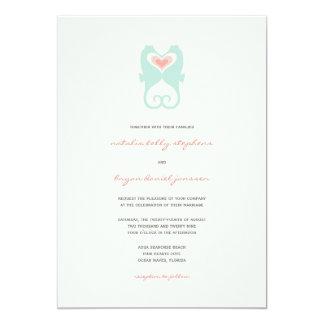 Kissing Seahorses Love Hearts Beach Summer Wedding Card