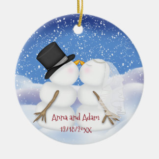 Kissing Snowmen Bride and Groom Ceramic Ornament